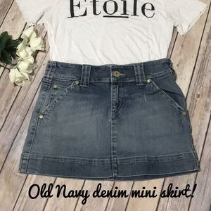 Old Navy distressed Denim jean mini skirt